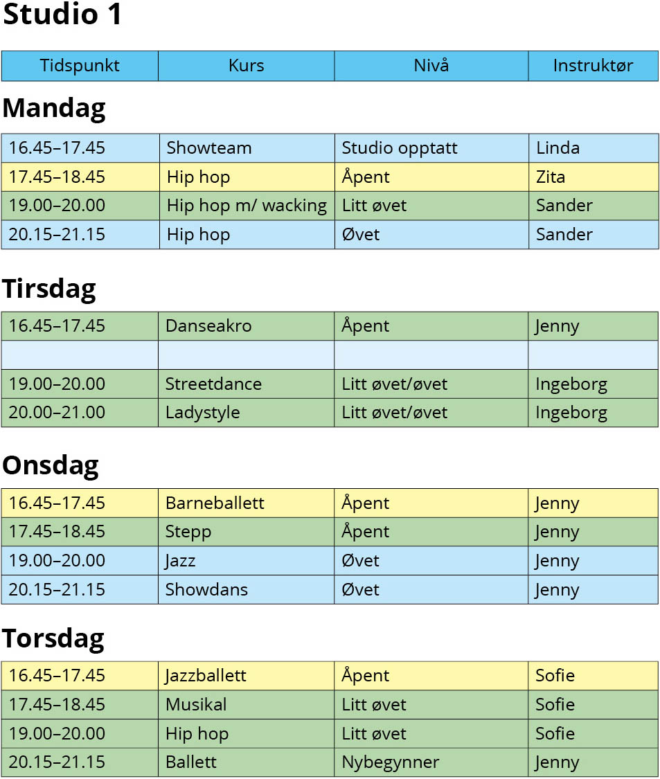 Timeplan studio 1