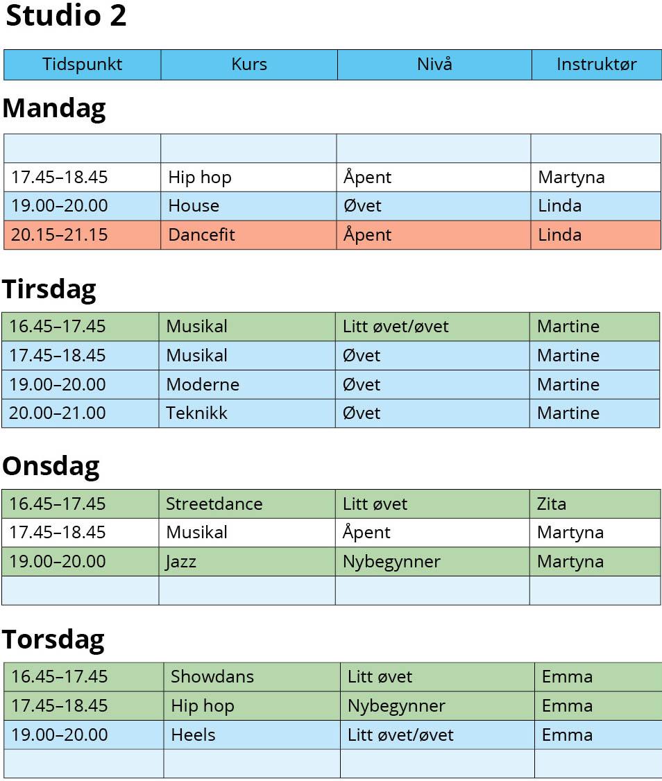 Timeplan studio 2